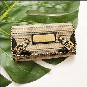 River Island Gold Black Straw Woven Wallet